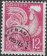 FRANCE 1954 Gallic Cock - 12f - Mauve PRECANCELLED - 1953-1960