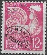 FRANCE 1954 Gallic Cock - 12f - Mauve PRE CANCEL - 1953-1960