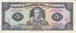 BILLETE DE ECUADOR DE 5 SUCRES DEL AÑO 1970 EN CALIDAD MBC (VF) (BANKNOTE) - Ecuador