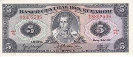 BILLETE DE ECUADOR DE 5 SUCRES DEL AÑO 1975 EN CALIDAD EBC (XF) (BANKNOTE) - Ecuador