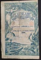 L AFRICAINE * BANQUE D'ETUDES ET D'ENTREPRISES * 1898 * LITHO * - Hist. Wertpapiere - Nonvaleurs