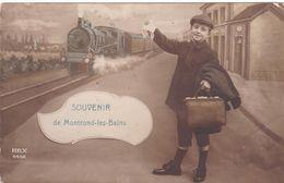 Souvenir De MONTROND-les-BAINS Garçon Et Train à La Gare # 1915    616 - Autres Communes