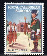 GB GREAT BRITAIN ROYAL CALEDONIAN SCHOOLS BUSHEY HERTS SCOTTISH ORPHANS POSTER STAMP LABEL NHM TARTAN KILTS SCOTS GUARD - Childhood & Youth
