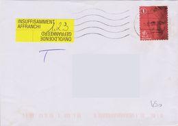Lettre Taxée En Provenance De Belgique Taxe Sur Vignette Jaune Insuffisamment Affranchi Onvoldoende Gefrankeerd - Lettres Taxées