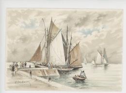 Barre & Dayez Cp Vierge N°2921 Marine Illustrateur Signé - Voilier Barque Marin Femme Coiffe Costume (bretagne) - Pêche