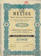 ACTION * AANDEEL * HELIOS * S A DE CINEPRODUCTIONS * ACTION DE 250 FRANCS * BRUXELLES * 1921 * 2 SCANS - Hist. Wertpapiere - Nonvaleurs