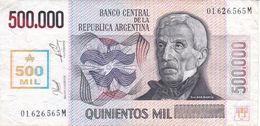 BILLETE DE ARGENTINA DE 500000 AUSTRALES DEL AÑO 1990 CON RESELLO (BANK NOTE) MUY RARO - Argentinien