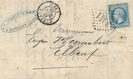 1866- Lettre De PUTEAUX ( Seine) Cad T15 Affr. N°22 Oblit. G C 3041 - 1849-1876: Classic Period