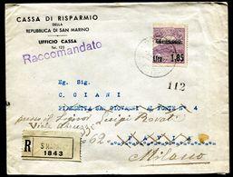 G10-73 SAN MARINO 1937 Raccomandata Affrancata Con Vedute L.1,85 Sovrastampato, Rispedizione, Annulli Di Transito E Di A - Lettres & Documents