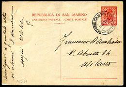 G10-51 SAN MARINO 1942 Cartolina Postale 30 C. (Fil. C18) Viaggiata, Fori Di Spillo - Entiers Postaux