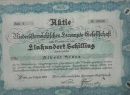 AKTIE * ACTION * ALBERT STERN * FIRMA * ESCOMPTE-GESELLSCHAFT *  EINHUNDERT SCHILLING * 1929 - Hist. Wertpapiere - Nonvaleurs