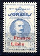 RC 17982 COTE DES SOMALIS COTE 15€ N° 225 LAGARDE SURCHARGÉ FRANCE LIBRE NEUF * TB - Neufs