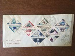 MONACO 1953 FDC PREMIER JOUR TRAIN BATEAU AVION DIRIGEABLE BALLON MONTGOLFIERE FUSEE TIMBRES TAXES - FDC