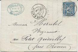 LETTRE  1878 AVEC TIMBRE AU TYPE SAGE ET CACHET GARE D'ARRAS - Poste Ferroviaire