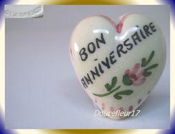 Clamecy ... Coeurs En Fête.. Bon Anniversaire, Grand Modèle Blanc-Rouge ... Ref .AFF : 16-1994 - Oude