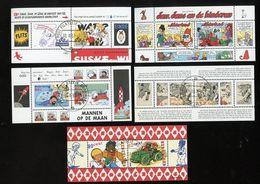 5 X Block Cartoons Suske En Wiske, Kuiifje, Tintin Sjors En Sjimmie Bonnel Tom Poes VF Used (VEN8-79) - Blocks & Sheetlets