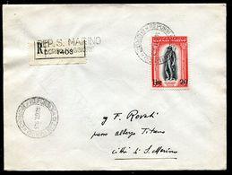 G10-68 SAN MARINO 1943 Raccomandata Affrancata Con Delfico 25 L. Soprastampato Del 1942, Annullo Di Arrivo, Ottime Condi - Saint-Marin