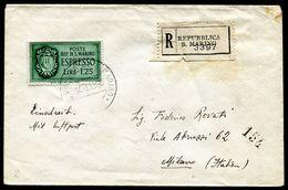G10-54 SAN MARINO 1943 Raccomandata Affrancata Con Espresso L. 1,25, Annullo Di Arrivo, Ottime Condizioni - Saint-Marin