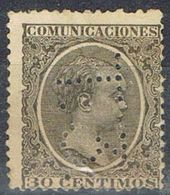 Sello TELEGRAFOS España 30 Cts Alfonso XIII, Perforado Telegrafico T3, Num 222t º - Telegramas