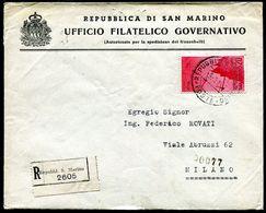 G10-120 SAN MARINO 1946 Raccomandata Affrancata Con Posta Aerea L. 20, Annulli Di Transito E Di Arrivo, Ottime Condizion - Saint-Marin