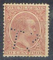 Sello TELEGRAFOS España 50 Cts Carmin Alfonso XIII, Perforado Telegrafico T3, Num 224t º - Telegramas