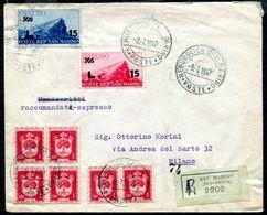 G10-116 SAN MARINO 1947 Raccomandata Affrancata Con Espresso 2 Valori Sovrastampati + Stemmi L. 1, 6 Esemplari, Annulli - Saint-Marin