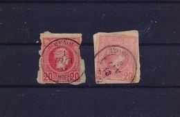 GREECE 1890s ΙΣΘΜΙΑ & ΜΥΛΟΙ 2 POSTMARKS TYPE III ON SMALL HERMES HEAD STAMPS - 1886-1901 Small Hermes Heads