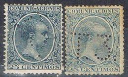 Dos Sellos TELEGRAFOS España 25 Cts  Alfonso XIII, Perforado Telegrafico T3, Num 221t Y 221at º - Telegramas
