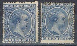 Dos Sellos TELEGRAFOS España 5 Cts  Alfonso XIII, Perforado Telegrafico T3, Num 215t Y 215at º - Telegramas
