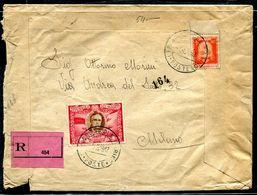 G10-115 SAN MARINO 1947 Raccomandata Affrancata Con Roosvelt Posta Aerea 50 L. + Stemmi L. 4, Annulli Di Transito E Di A - Saint-Marin