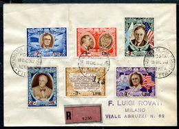 G10-99 SAN MARINO 1947 Raccomandata Affrancata Con Roosvelt Sovrastampati, Serie Completa, Annullo Di Arrivo, Ottime Con - Saint-Marin