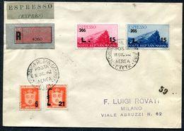 G10-24 SAN MARINO 1947 Raccomandata Espresso Affrancata Con 2 Valori Espresso + Ordinari, Annulli Di Transito E Di Arriv - Saint-Marin