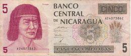 BILLETE DE NICARAGUA DE 5 CORDOBAS DEL AÑO 1991  (BANK NOTE) - Nicaragua