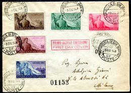 G10-10 SAN MARINO 1948 FDC Lettera Affrancata Con Serie Completa Lavoro Per Milano, Annulli Di Transito E Di Arrivo, Ott - Saint-Marin