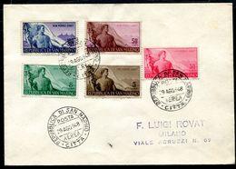 G10-20 SAN MARINO 1948 Lettera Affrancata Con Serie Completa Lavoro Per Milano, Manca Annullo Di Arrivo, Valutazione Com - Saint-Marin