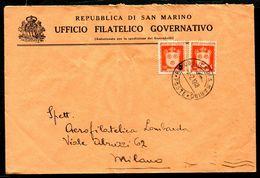 G10-111 SAN MARINO 1948 Lettera Affrancata Con Stemmi 4 L. 2 Esemplari, Annullo Di Arrivo, Buone Condizioni - Saint-Marin