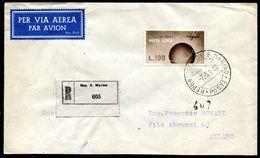 G10-21 SAN MARINO 1948 Raccomandata Affrancata Con Posta Aerea 100 L. Del 1947 Per Milano, Annulli Di Transito E Di Arri - Saint-Marin