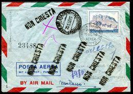 G10-9 SAN MARINO 1949 Aerogramma Affrancato Con UPU 100 L. Del 1949 Per Cagliari, Annullo FDC, Numerosi Annulli Di Trans - Saint-Marin
