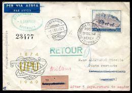 G10-7 SAN MARINO 1949 Aerogramma Affrancato Con UPU 100 L. Del 1949 Per Copenaghen, Annullo FDC, Numerosi Annulli Di Tra - Saint-Marin