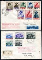 G10-31 SAN MARINO 1949 FDC 2 Buste Affrancate Con Garibaldi A S. Marino, Serie Completa, 1 Viaggiata, Ottime Condizioni - Covers & Documents