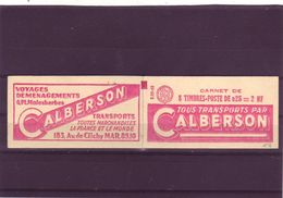 - 0,25  DECARIS - Carnet De 8 - S 05 60 -pub CALBERSON - 5 Séries) - 1960 Maríanne De Decaris