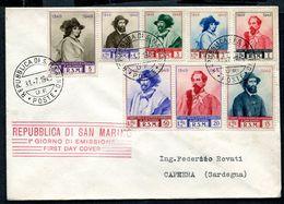 G10-32 SAN MARINO 1949 FDC Busta Affrancata Con Garibaldi A S. Marino, Serie Ordinaria Completa, Non Viaggiata, Ottime C - Saint-Marin