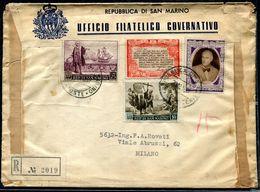 G10-106 SAN MARINO 1949 Raccomandata Affrancata Con Colombo 2 Valori + Roosvelt 2 Valori, Annullo Di Arrivo, Buone Condi - Saint-Marin
