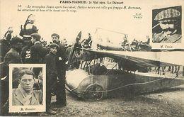 Aviation Paris Madrid Accident D'avion Aviateur Train Et Bonnier - Aviateurs