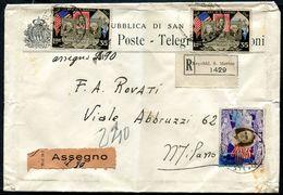 G10-105 SAN MARINO 1949 Raccomandata Contrassegno Affrancata Con Centenario Francobollo Americano 35 L. X 2 + Roosvelt 5 - Saint-Marin