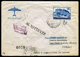 G10-3 SAN MARINO 1950 Aerogramma Affrancato Con UPU 200 L. Del 1950 Per New York, Annullo FDC, Numerosi Annulli Di Trans - Saint-Marin