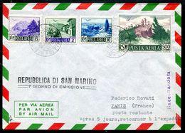 G10-2 SAN MARINO 1950 Busta Affrancata Con 4 Valori Vedute Del 1950 Tra Cui Il 500 L. Annullo Primo Giorno. Manca Annull - Saint-Marin