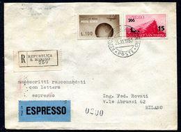 G10-23 SAN MARINO 1950 Manoscritti Raccomandati Espresso Affrancati Con 2 Valori, Annulli Di Transito E Di Arrivo, Ottim - Saint-Marin