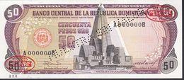 ¡¡MUESTRA!! BILLETE DE REP. DOMINICANA DE 50 PESOS ORO DEL AÑO 1985 TALADRO: MUESTRA SIN VALOR - ESPECIMEN-SPECIMEN - República Dominicana