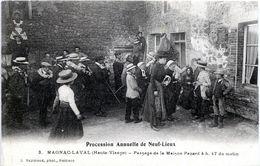 87. HAUTE-VIENNE - MAGNAC-LAVAL. Procession De Neuf-Lieux. Passage De La Maison Pezard 4h. 47 Du Matin. - Andere Gemeenten
